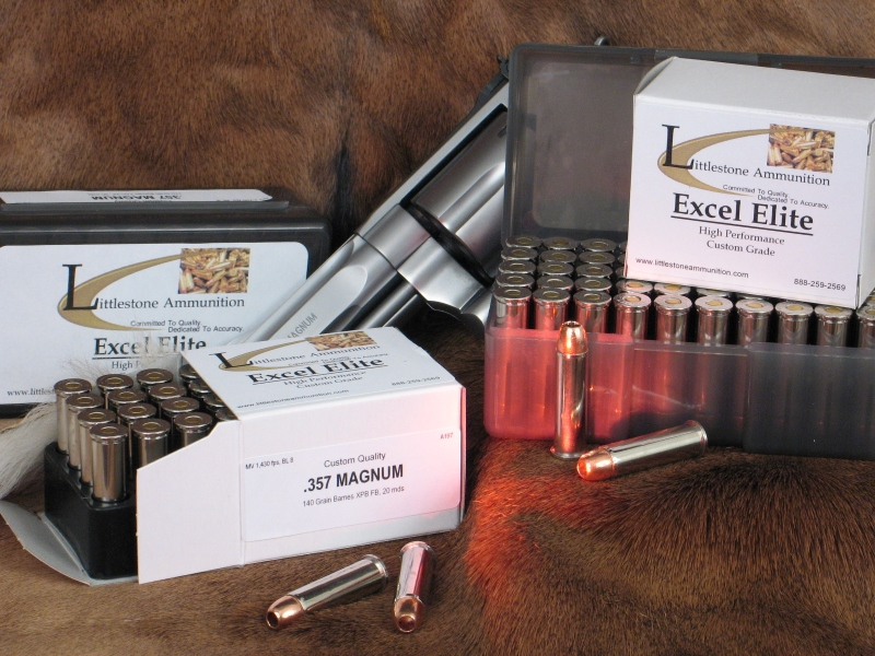 Twenty- and 50-round boxes of .357 Magnum Custom-Quality Excel Elite ammo loaded with Barnes 140-grain XPB Solid Copper Hollow Point bullets.